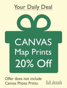 Daily Deal - 20% off Canvas Map Prints